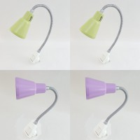 Flexo Enchufable 1 x E14 Color Malva, Pistacho y Blanco brazo Flexible interruptor