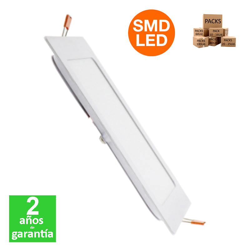 Foco Placa Downlight LED Cuadrado 12W 1200Lm IP20 170x170mm Corte 150x150mm