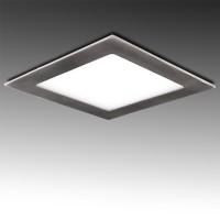Foco Placa Downlight LED Cuadrado 18W 1300Lm serie Níquel Satinado Corte 225x225mm 50.000H