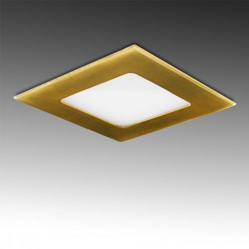 Foco Placa Downlight LED Cuadrado 6W 480Lm serie Marco Color Dorado SMD2835 121x121mm Corte 101x101mm