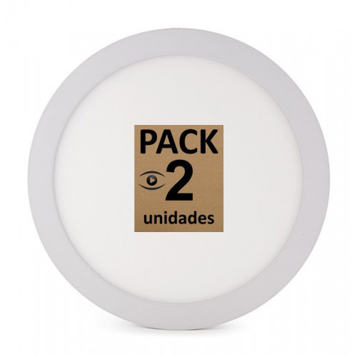Pack Plafón de Leds 18W 1190Lm Ø225mm Circular para superficies de 30.000H Serie Eco. (ideal Techos y paredes)