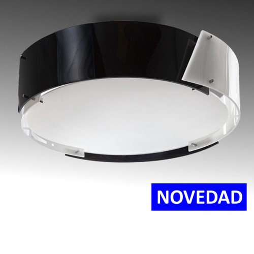 Plafón ARGUS Negro Circular para superficies de 4 x E27 (Sin Bombillas)(ideal Techos y paredes)