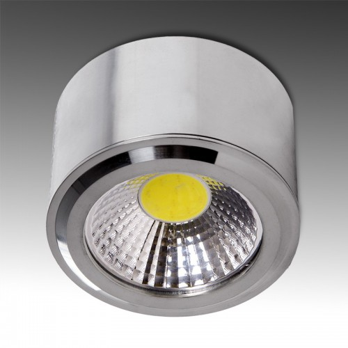 Downlight Plafón de Leds Cilíndrico para superficies de 5W 450Lm Ø68mm 30.000H Serie Níquel Satinado
